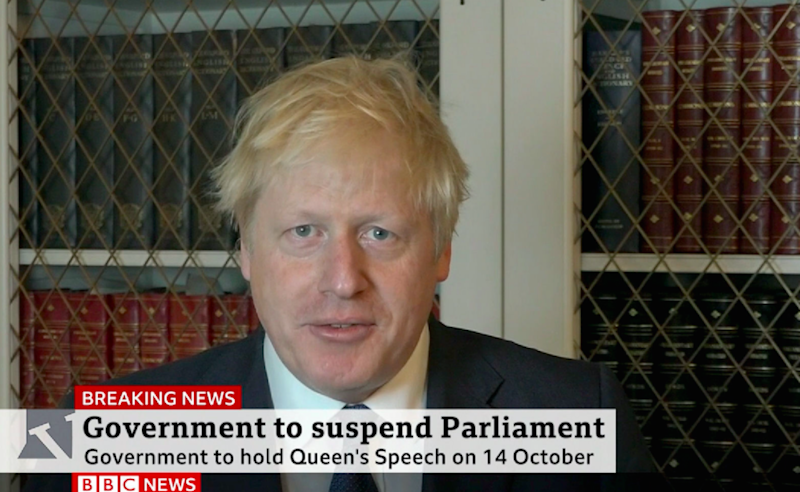 "Prime Minister Boris Johnson making a statement in which he said that it is ""completely untrue"" he will be holding a Queen's Speech on October 14 because of Brexit (BBC/PA)"