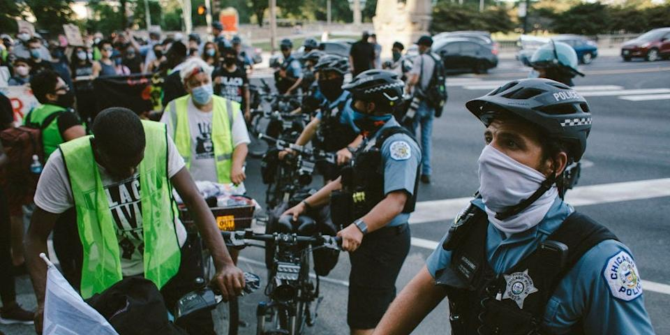 Police block a march route for Black Lives Matter Protesters on Michigan Ave in Chicago, United States, on July 25, 2020.