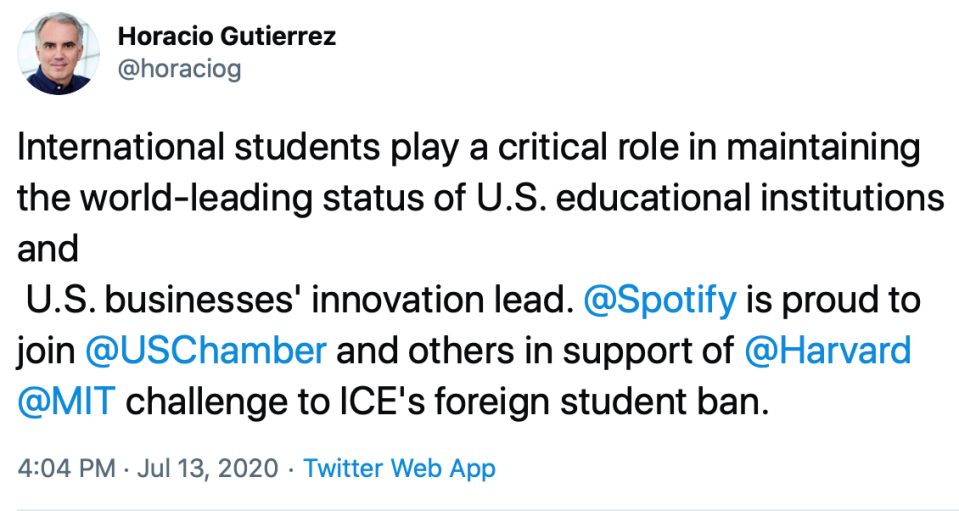 Horacia Gutierrez, Head of Global Affairs and Chief Legal Officer at Spotify Tweet July 13, 2020