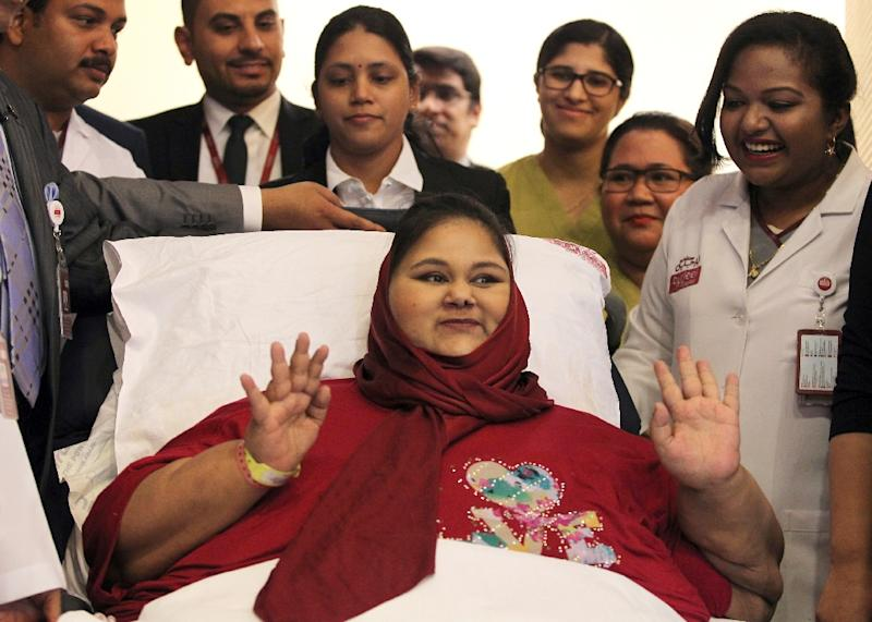 Egyptian Eman Ahmed Abd El Aty, seen here at a July press conference at the Burjeel Hospital in Abu Dhabi and believed to have been the world's heaviest woman, died Monday of heart and kidney failure