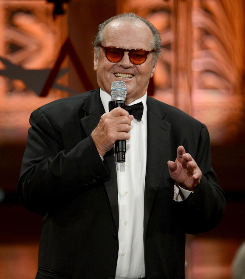 CULVER CITY, CA - JUNE 07:  Actor Jack Nicholson speaks onstage at the 40th AFI Life Achievement Award honoring Shirley MacLaine held at Sony Pictures Studios on June 7, 2012 in Culver City, California. The AFI Life Achievement Award tribute to Shirley MacLaine will premiere on TV Land on Saturday, June 24 at 9PM ET/PST.  (Photo by Kevin Winter/Getty Images for AFI)