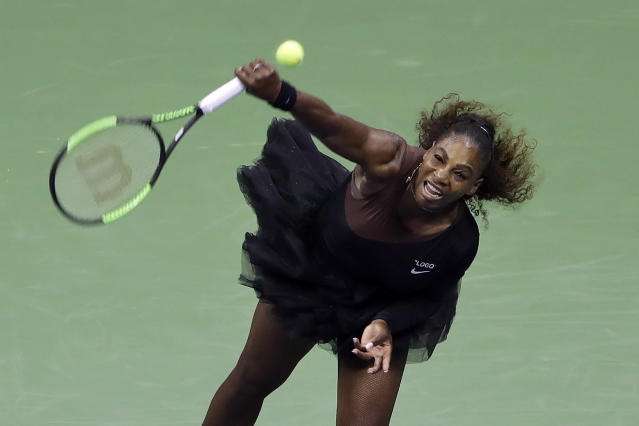 "<a class=""link rapid-noclick-resp"" href=""/olympics/rio-2016/a/1132744/"" data-ylk=""slk:Serena Williams"">Serena Williams</a> looked dominant Monday in her first U.S. Open match since giving birth to her daughter last September. (AP)"