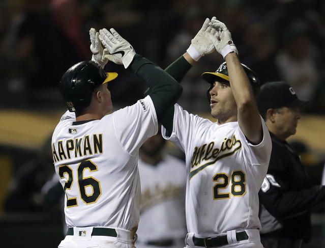 Oakland Athletics' Matt Olson, right, celebrates with Matt Chapman (26) after hitting a two-run home run off Los Angeles Angels' Nick Tropeano in the sixth inning of a baseball game, Tuesday, May 28, 2019, in Oakland, Calif. (AP Photo/Ben Margot)