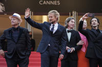 FILE - In this July 12, 2021 file photo Bill Murray, from left, Owen Wilson, director Wes Anderson, Tilda Swinton, and Adrien Brody pose for photographers upon arrival at the premiere of the film 'The French Dispatch' at the 74th international film festival, Cannes, southern France. (AP Photo/Brynn Anderson, File)