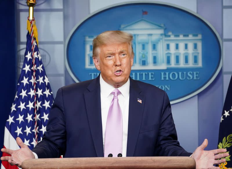 U.S. President Trump holds coronavirus disease (COVID-19) pandemic briefing at the White House in Washington