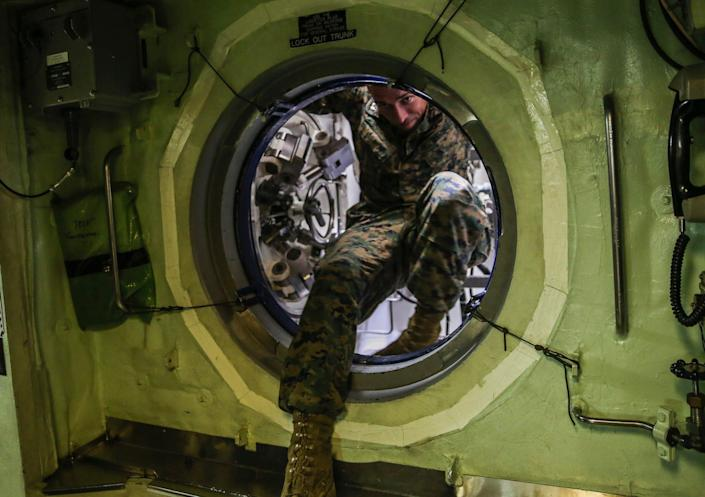 Navy submarine lock-out escape trunk