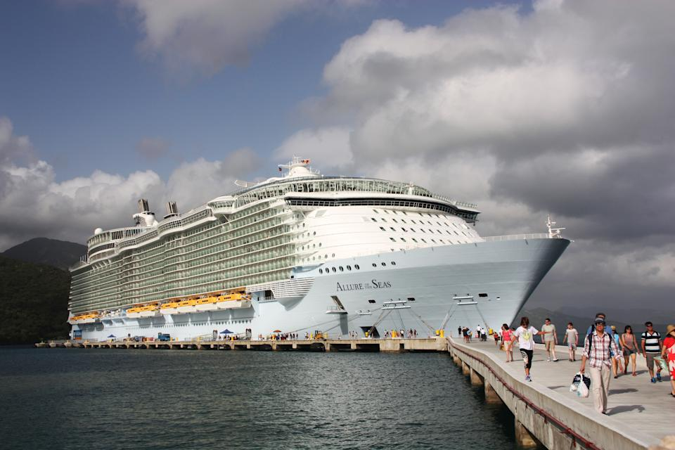Labadee, Haiti - July 31, 2012 : Royal Caribbean, Allure of the Seas docked in Labadee, Haiti. Allure of the Seas is one of the largest tourist ship of Royal Caribbean