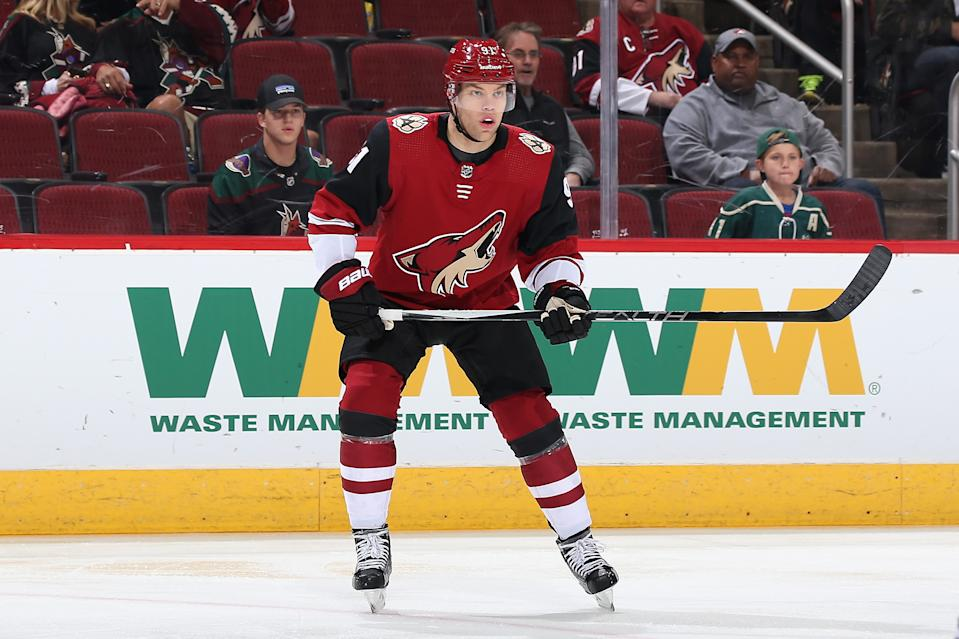 GLENDALE, ARIZONA - DECEMBER 19: Taylor Hall #91 of the Arizona Coyotes in action during the NHL game against the Minnesota Wild at Gila River Arena on December 19, 2019 in Glendale, Arizona. The Wild defeated the Coyotes 8-5. (Photo by Christian Petersen/Getty Images)