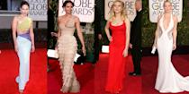 <p>From Cher's midriff-baring number to Scarlett Johansson's iconic red Calvin Klein dress, we're taking a look back at the sexiest looks to sweep the Golden Globes red carpet.</p>