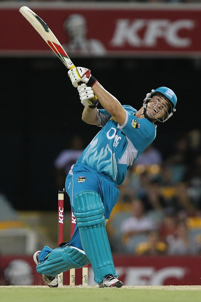 BRISBANE, AUSTRALIA - JANUARY 07:  Luke Pomersbach of the Heat bats during the Big Bash League match between the Brisbane Heat and the Sydney Sixers at The Gabba on January 7, 2013 in Brisbane, Australia.  (Photo by Chris Hyde/Getty Images)