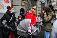 Queues for the food aid handed out at a Budapest restaurant regularly stretch hundreds of metres