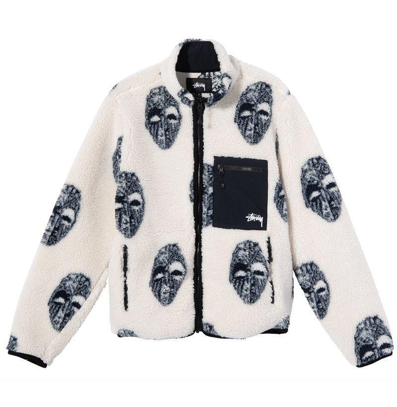 """<p><strong>Stüssy</strong></p><p>stussy.com</p><p><strong>$150.00</strong></p><p><a href=""""https://www.stussy.com/collections/mens-new-arrivals/products/mask-jacquard-sherpa?variant=32666745831520"""" rel=""""nofollow noopener"""" target=""""_blank"""" data-ylk=""""slk:Buy"""" class=""""link rapid-noclick-resp"""">Buy</a></p>"""