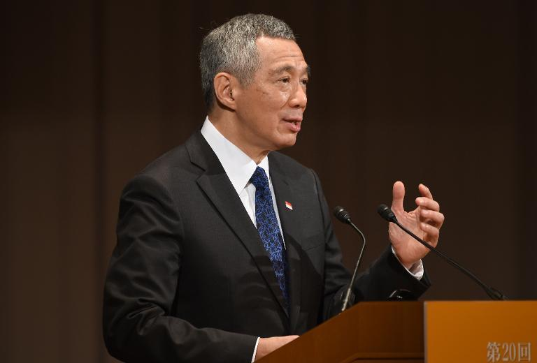 Singapore's Prime Minister Lee Hsien Loong delivers a speech during the 20th International Conference on the Future of Asia in Tokyo on May 22, 2014