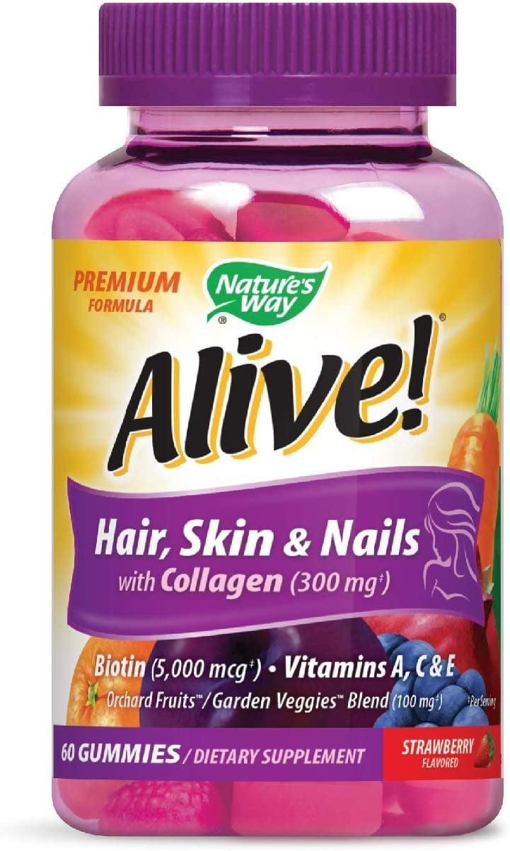 <p>Take your beauty and wellness routine to the next level with <span>Alive! Premium Hair, Skin &amp; Nails Gummies</span> ($12).</p>