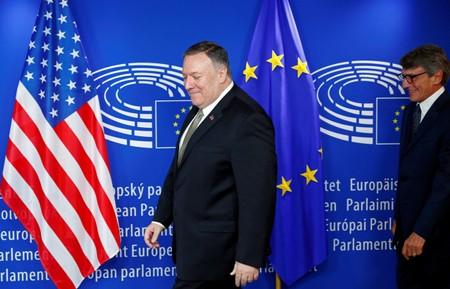 U.S. Secretary of State Pompeo walks with European Parliament President Sassoli in Brussels