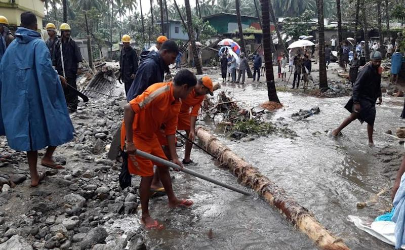 NDRF deployed in Kerala, engaged in rescue and relief work, in connection with flood and landslides. Source/ Naveen Nair