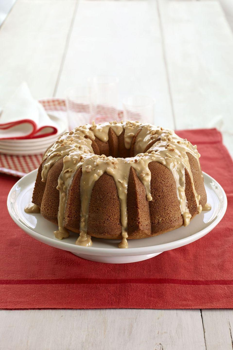 """<p>Since you two go together like PB &J, make her this nutty bundt with a creamy peanut butter drizzle. </p><p><em><a href=""""https://www.goodhousekeeping.com/food-recipes/a11577/peanut-butter-cake-recipe-wdy0814/"""" rel=""""nofollow noopener"""" target=""""_blank"""" data-ylk=""""slk:Get the recipe for Peanut Butter Cake »"""" class=""""link rapid-noclick-resp"""">Get the recipe for Peanut Butter Cake »</a></em></p>"""