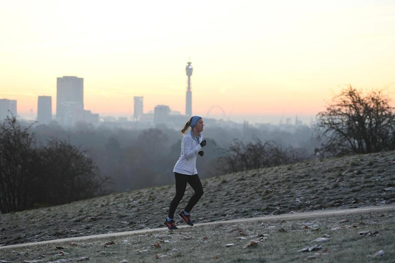 Frost: A jogger runs up Primrose Hill in freezing conditions: Jeremy Selwyn