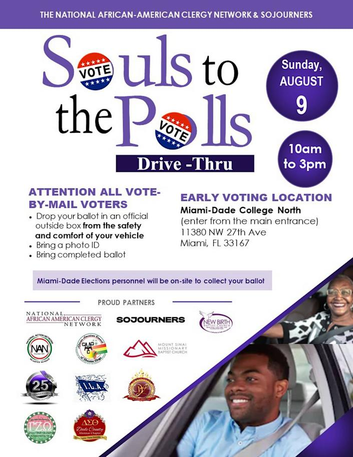 An advertisement for Souls to the Polls in Miami-Dade County on Aug. 9, 2020.