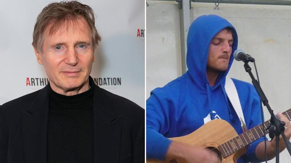 Liam Neeson's nephew Ronan Sexton, right, has died five years after suffering a serious head injury in a fall. (Photos: AAP; via Facebook)