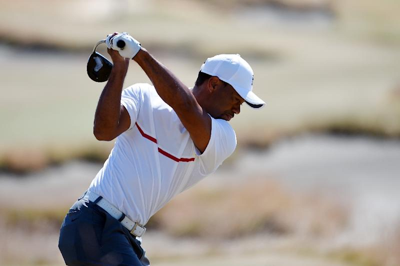 Tiger Woods of the United States hits his tee shot on the 18th hole during the second round of the 115th U.S. Open Championship at Chambers Bay on June 19, 2015 in Washington