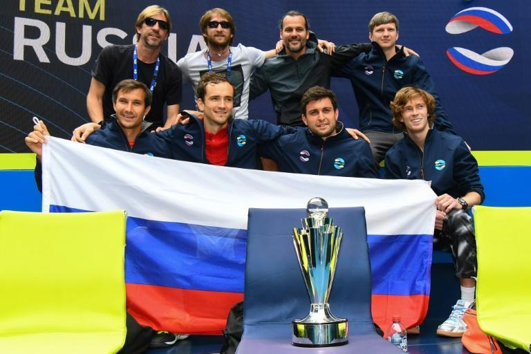 Russia celebrate winning the ATP Cup after beating Italy on Sunday