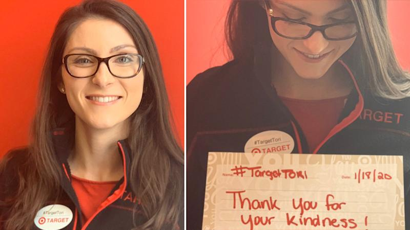 Target Tori thanksing people for their support and smiling.