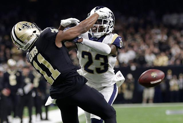 The Rams' Nickell Robey-Coleman knows he got away with one in the NFC title game against the Saints and Tommylee Lewis. (AP)