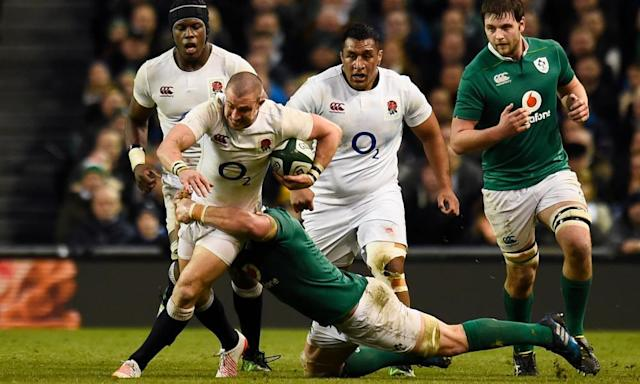 """<span class=""""element-image__caption"""">The England full-back Mike Brown struggled to find a way through the Ireland defence in the Six Nations match in Dublin.</span> <span class=""""element-image__credit"""">Photograph: Clodagh Kilcoyne/Reuters</span>"""