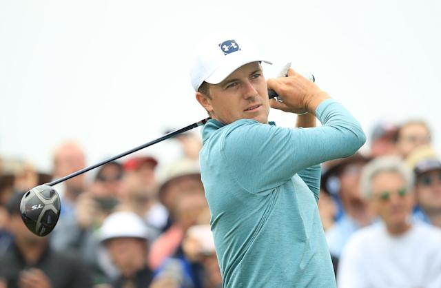 "It wasn't a great day for <a class=""link rapid-noclick-resp"" href=""/pga/players/11107/"" data-ylk=""slk:Jordan Spieth"">Jordan Spieth</a> and his caddy Michael Greller on the links. (Getty)"