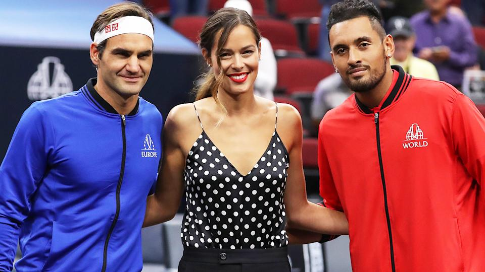 Roger Federer and Nick Kyrgios, pictured here at the 2018 Laver Cup with Ana Ivanovic.