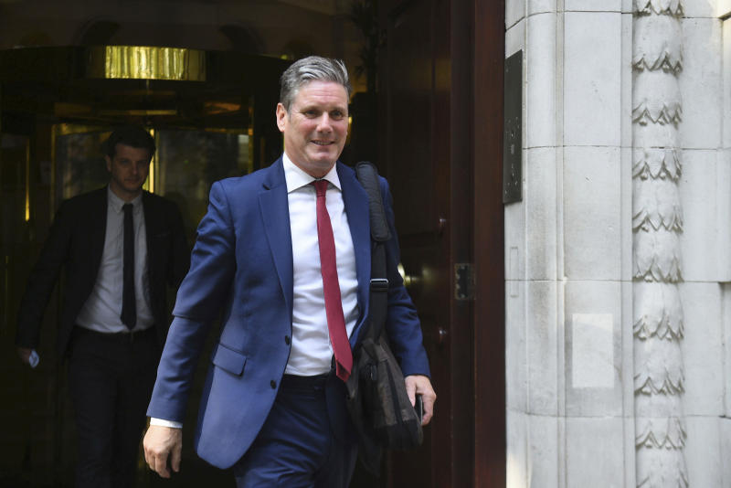 Keir Starmer, Britain's main opposition Labour Party Shadow Secretary of State for Exiting the European Union, in London, Tuesday Aug. 27, 2019. Starmer is expected to attend a meeting of anti-no deal Brexit lawmakers, later Tuesday, who are trying to coalesce around a strategy to stop Britain exiting the European Union without a Brexit deal. (Kirsty O'Connor/PA via AP)