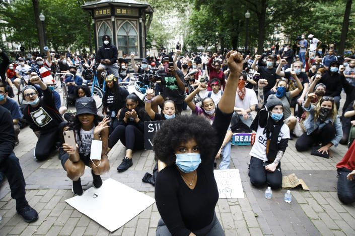 In this Tuesday, June 2, 2020 file photo, demonstrators chant, at Rittenhouse Square in Philadelphia, during a protest over the death of George Floyd, who was killed May 25 by Minneapolis police. State voters next week will decide whether to add a racial equality provision to the state constitution, a measure Pennsylvania state Sen. Vince Hughes introduced last year, two weeks after Floyd died. (AP Photo/Matt Rourke)