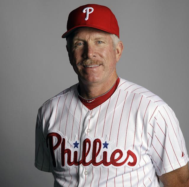 FILE - This March 1, 2012, file photo shows Mike Schmidt of the Philadelphia Phillies baseball team. Hall of Famer Mike Schmidt was the MVP of the 1980 World Series when the Phillies won their first championship. He reached the postseason six times and hit .236 with four home runs and 16 RBIs in 36 games. (AP Photo/Matt Slocum, File)