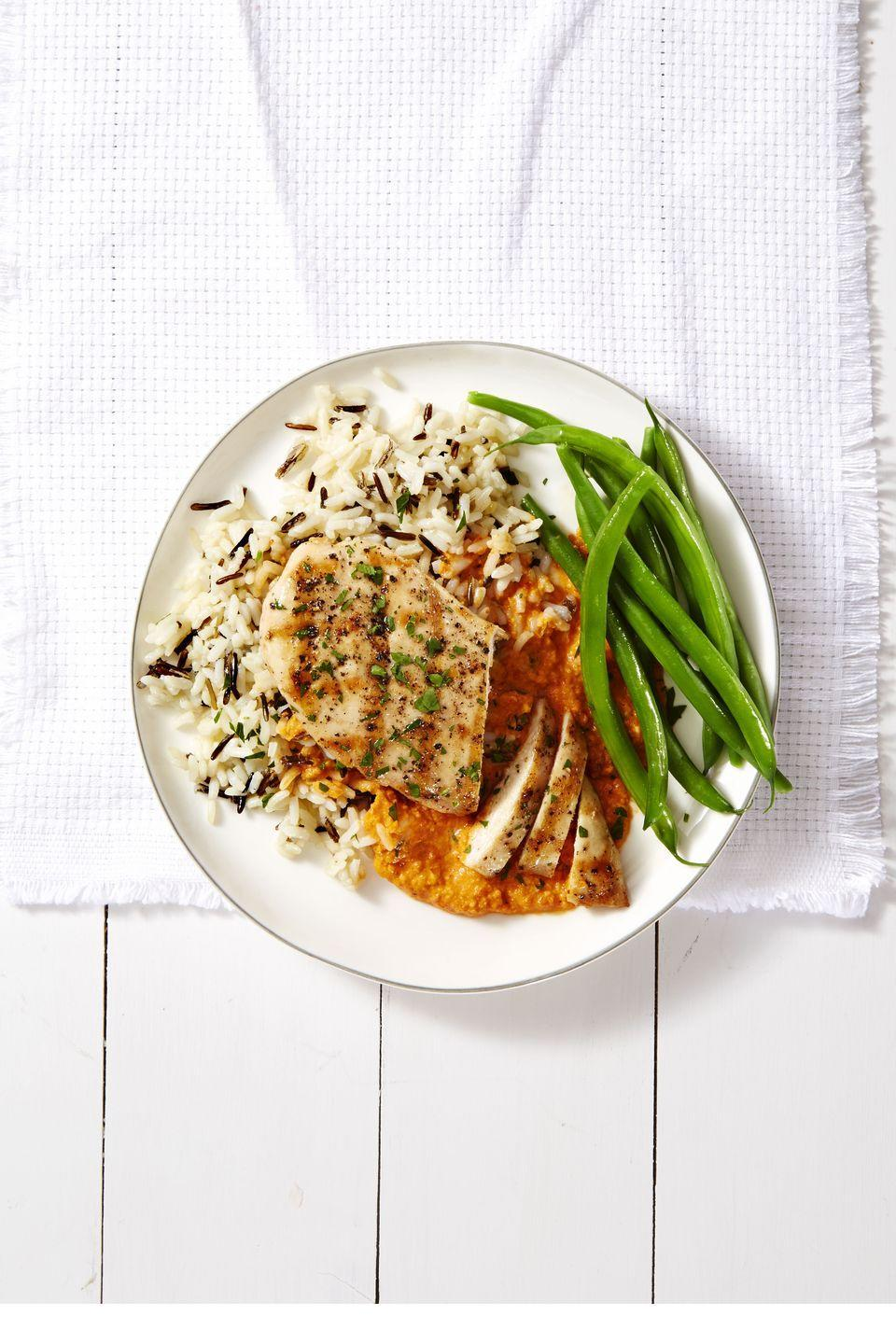 "<p>What is Romesco, you ask? Consider this Catalonian condiment as next-level tomato sauce with the addition of nuts, peppers, garlic, and sherry vinegar. </p><p><em><a href=""https://www.goodhousekeeping.com/food-recipes/a39948/grilled-chicken-romesco-recipe/"" rel=""nofollow noopener"" target=""_blank"" data-ylk=""slk:Get the recipe for Grilled Chicken Romesco »"" class=""link rapid-noclick-resp"">Get the recipe for Grilled Chicken Romesco »</a></em></p>"