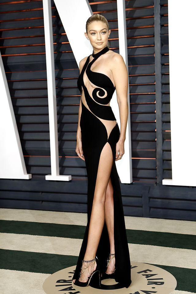<p>Gigi is part of the mile-high (leg) club too! She displayed her famous gams — and a whole lot more! — at the 2015 Vanity Fair Oscar Party. As supermodels are apt to do. (Photo by Kurt Krieger/Corbis via Getty Images) </p>