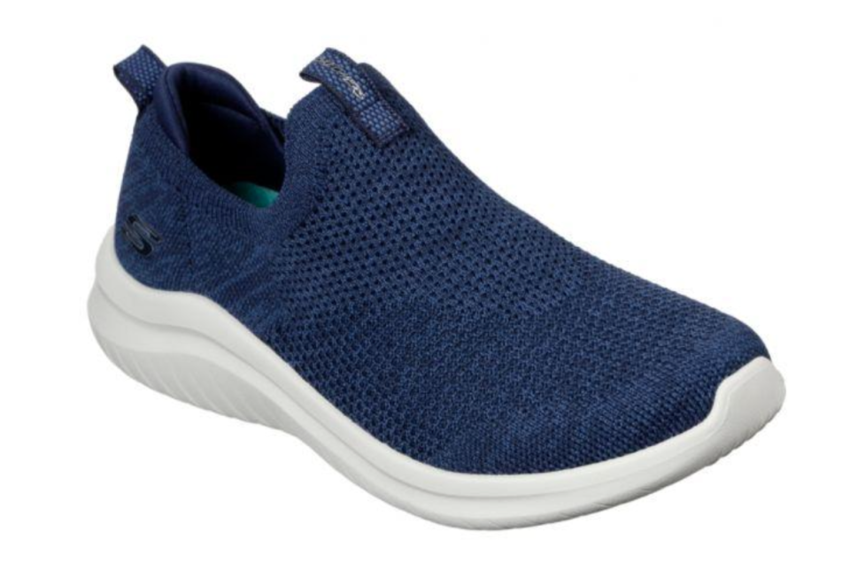 a navy pair of women's Ultra Flex 2.0 Skechers shoes on sale for afterpay day