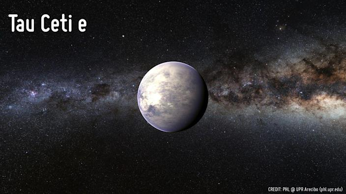 <p>Tau Ceti e has a mass 3.93 times Earth's and takes 162.9 days to orbit its G-type star. Scientists announced the exoplanet in 2017.</p>
