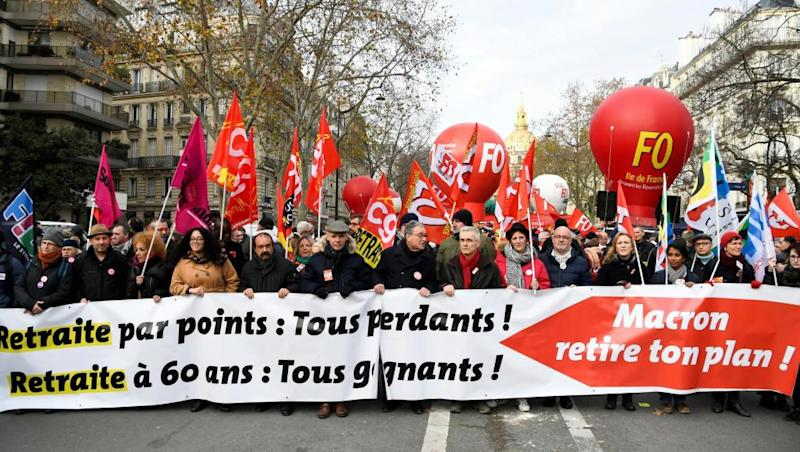 French unions hold second nationwide marches against pension reform