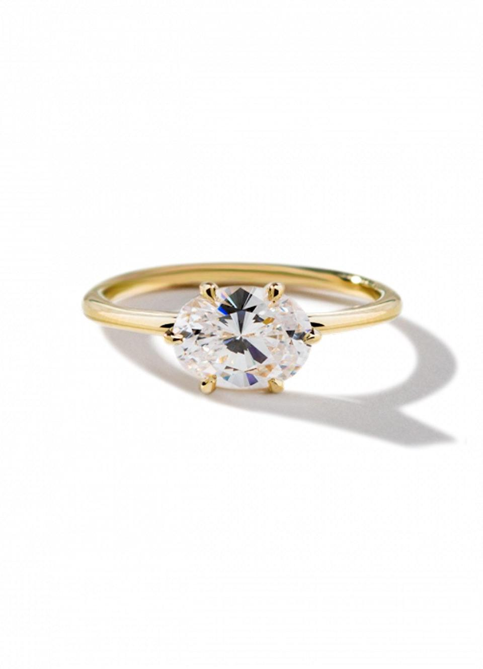 """Prongs are the small pieces of metal that set the stone on an engagement ring. They might be a simple construction element, but they can really transform the look of your ring—and shoppers know it. """"Four-prong solitaires have been around for decades, but now we're seeing a rise in the six-prong trend,"""" says Zimmerman, noting that the latter draw from the iconic Tiffany setting. $3366, ILA. <a href=""""https://ilacollection.com/oona-18k-yellow-gold.html"""" rel=""""nofollow noopener"""" target=""""_blank"""" data-ylk=""""slk:Get it now!"""" class=""""link rapid-noclick-resp"""">Get it now!</a>"""