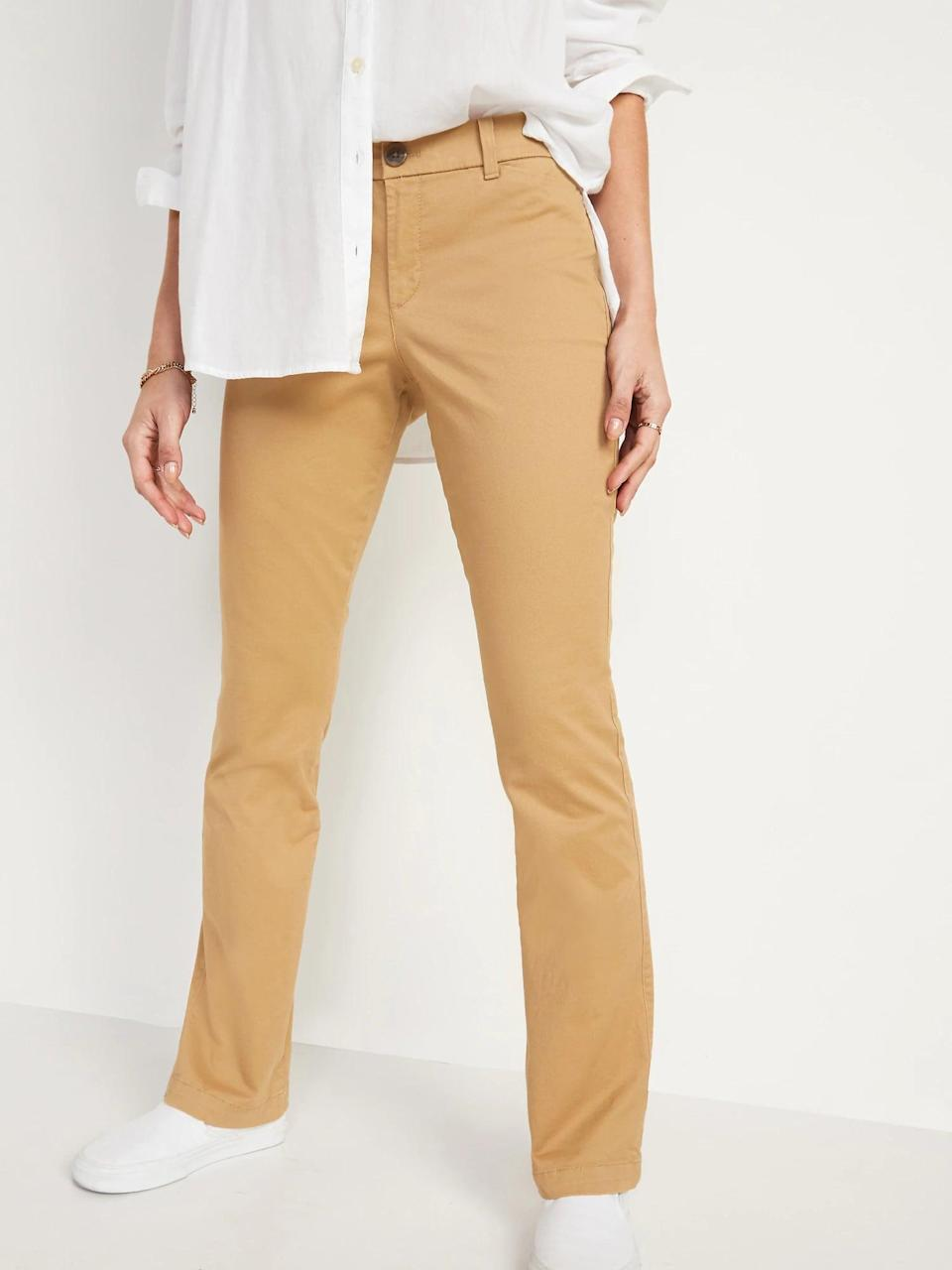 <p>A pair of golden-tan <span>Old Navy Mid-Rise Boot-Cut Khakis</span> ($30) bring a warm look to chilly days but they still have that standard chino fit.</p>