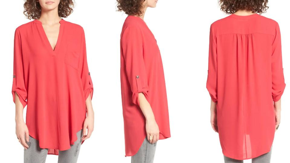 Get the All in Favor Perfect Roll Tab Sleeve Tunic on sale now for $19. (Image via Nordstrom)