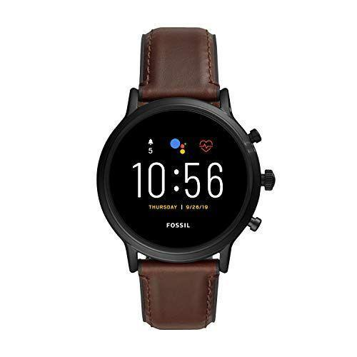 """<p><strong>Fossil</strong></p><p>amazon.com</p><p><strong>$295.00</strong></p><p><a href=""""https://www.amazon.com/dp/B07SSVWD1X?tag=syn-yahoo-20&ascsubtag=%5Bartid%7C2139.g.33482000%5Bsrc%7Cyahoo-us"""" rel=""""nofollow noopener"""" target=""""_blank"""" data-ylk=""""slk:BUY IT HERE"""" class=""""link rapid-noclick-resp"""">BUY IT HERE</a></p><p>The ultimate everyday smartwatch, the Fossil Gen 5 delivers 24 hours of battery life with four battery modes. Don't worry about slow charge times when you're on the move. Charge right back up with a 50 minute charge time to 80 percent battery. The clear 44mm case brightly displays essential notifications like Google Pay, heart rate activity tracking, and more. Answer calls right on your Gen 5 when you've paired your smartphone and Gen 5 on Bluetooth. The Gen 5 is compatible with Android and iOS phones.</p>"""