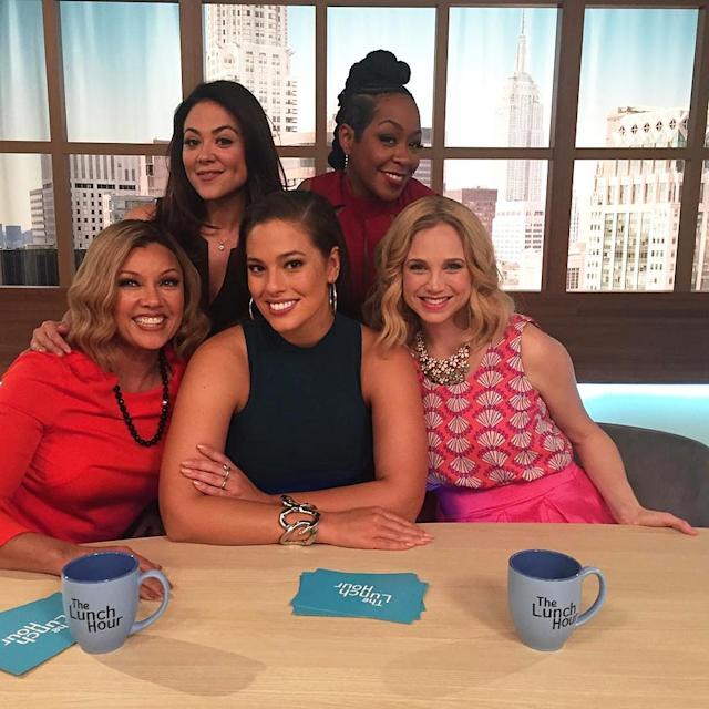 <p>Look who decided to stop by! Beautiful @TheAshleyGraham hangin' with the divas for the day… @daytimedivas </p>