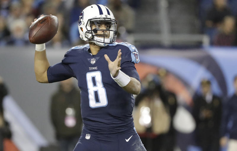 Tennessee Titans quarterback Marcus Mariota played through a hamstring injury on Monday and led his team to a win. (AP)