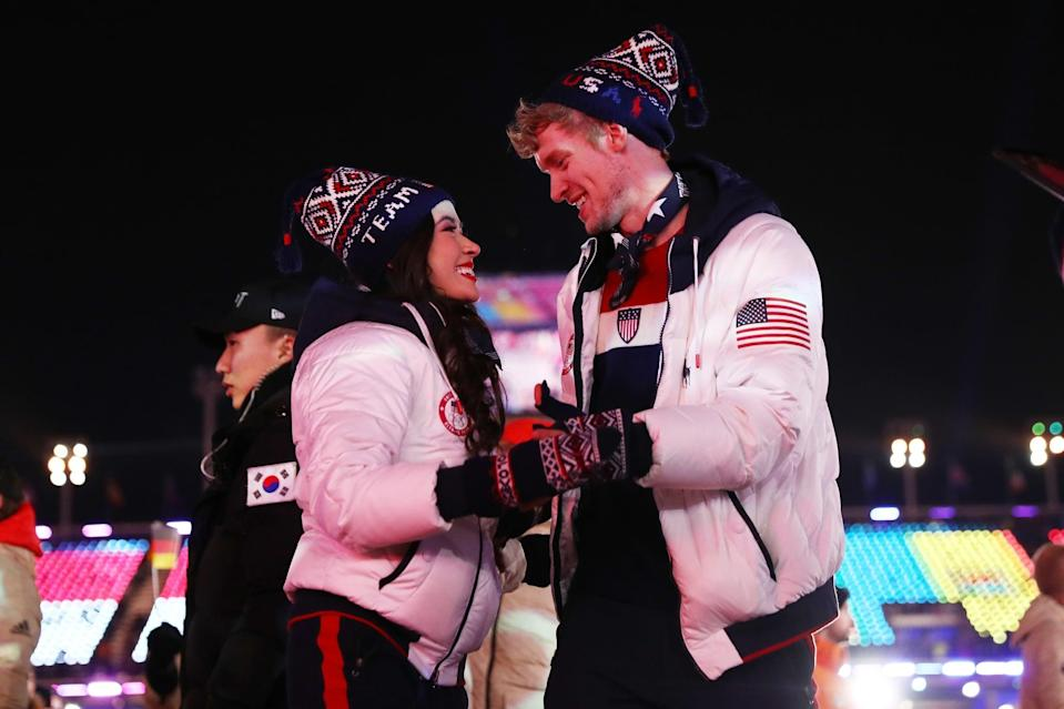 """<p>Just in case the opening ceremony outfits weren't enough, <a href=""""https://www.teamusa.org/news/2017/november/01/usoc-and-polo-ralph-lauren-unveil-closing-ceremony-uniforms-for-the-2018-us-teams"""" class=""""link rapid-noclick-resp"""" rel=""""nofollow noopener"""" target=""""_blank"""" data-ylk=""""slk:Polo Ralph Lauren"""">Polo Ralph Lauren</a> made sure to keep the team stylish for the closing ceremonies in South Korea, featuring all-American down jackets, vintage-inspired ski sweaters, and fleece pants with red, white, and blue detailing. </p>"""