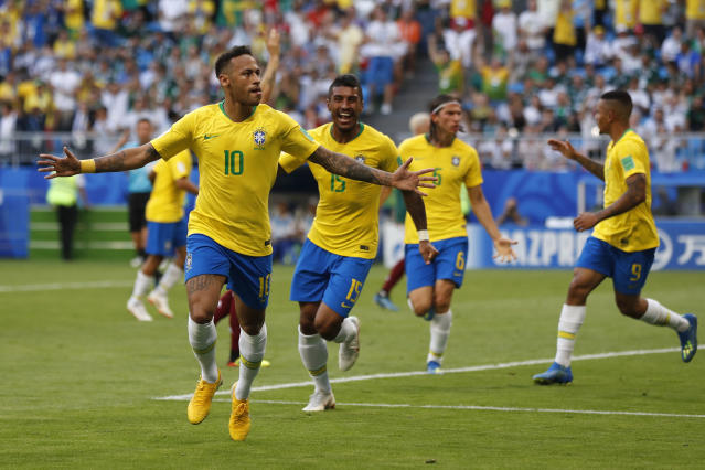Neymar celebrates his goal against Mexico in Brazil's Round of 16 victory at the 2018 World Cup. (AP)