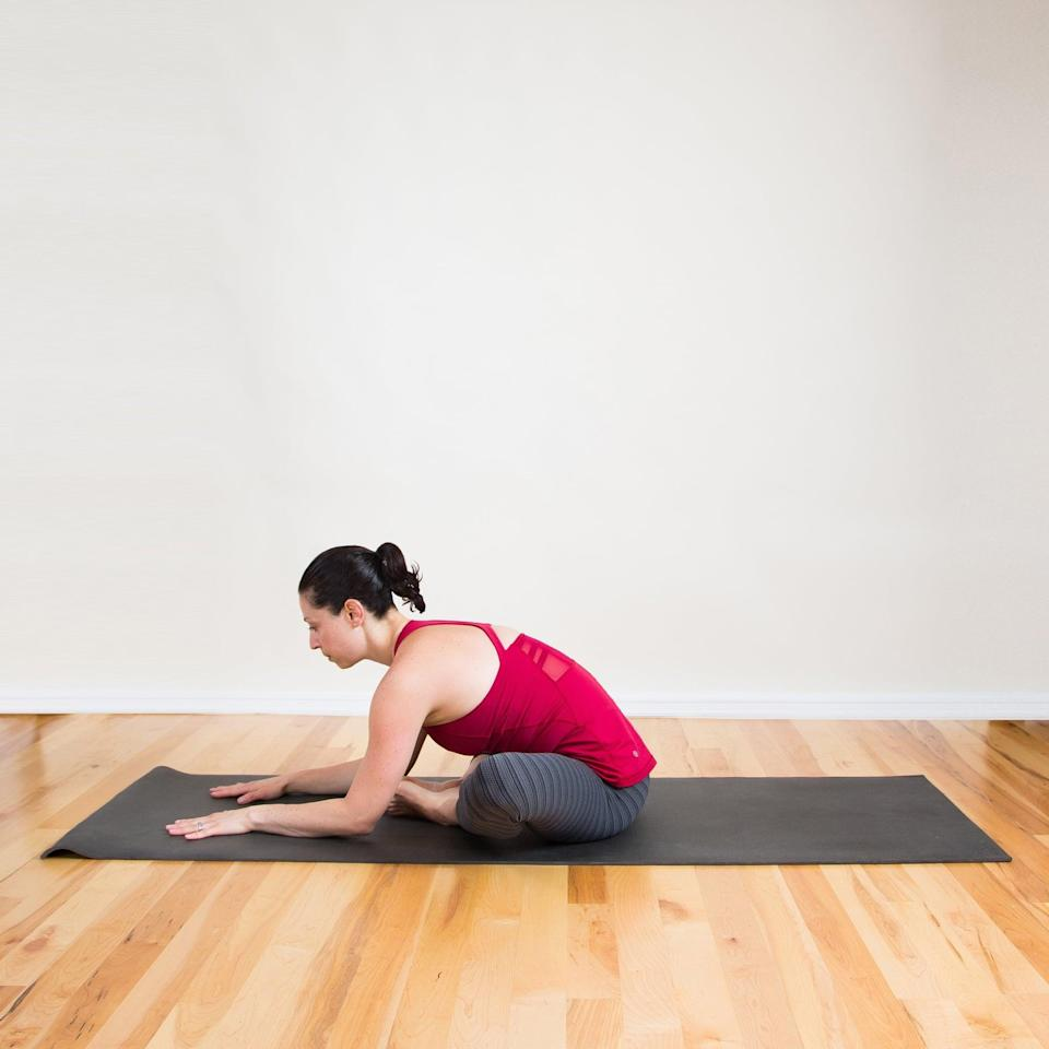 <ul> <li>Sit on the floor, bringing the soles of the feet together.</li> <li>Lengthen your spine, and fold forward to increase the intensity.</li> <li>Enjoy this hip-opening stretch for five breaths.</li> </ul>