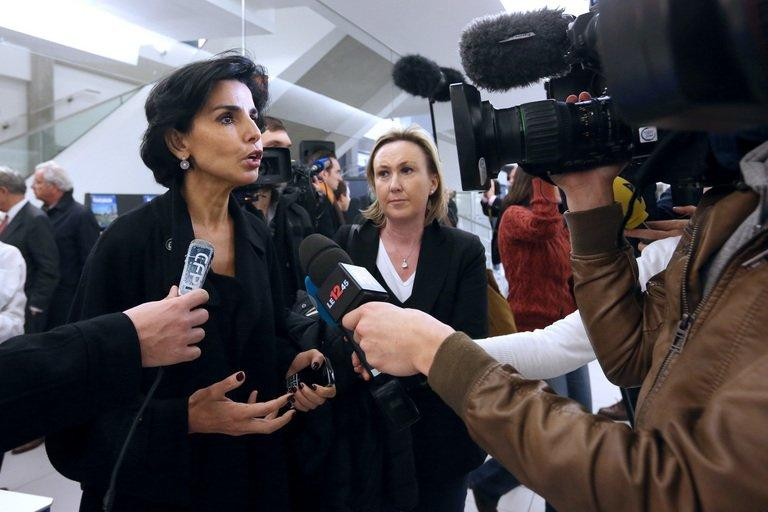 Former French justice minister Rachida Dati talks to the media in Paris on November 23, 2012