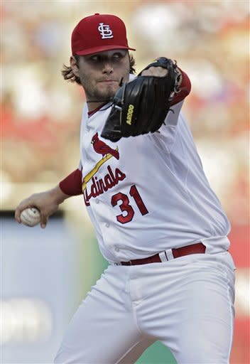 St. Louis Cardinals starter Lance Lynn pitches in the first inning of a baseball game against the Chicago White Sox, Wednesday, June 13, 2012, in St. Louis.(AP Photo/Tom Gannam)